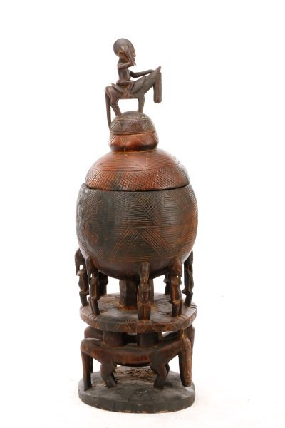 Dogon Carved Wood Medicine Pot in Three Sections - 2