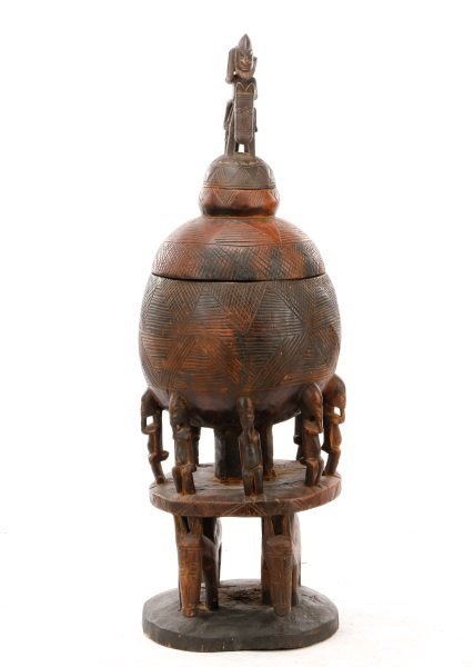 Dogon Carved Wood Medicine Pot in Three Sections - 3