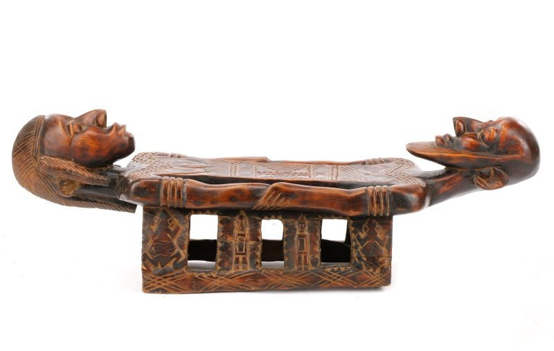 20th C. African Dogon Carved Wood Marriage Bench