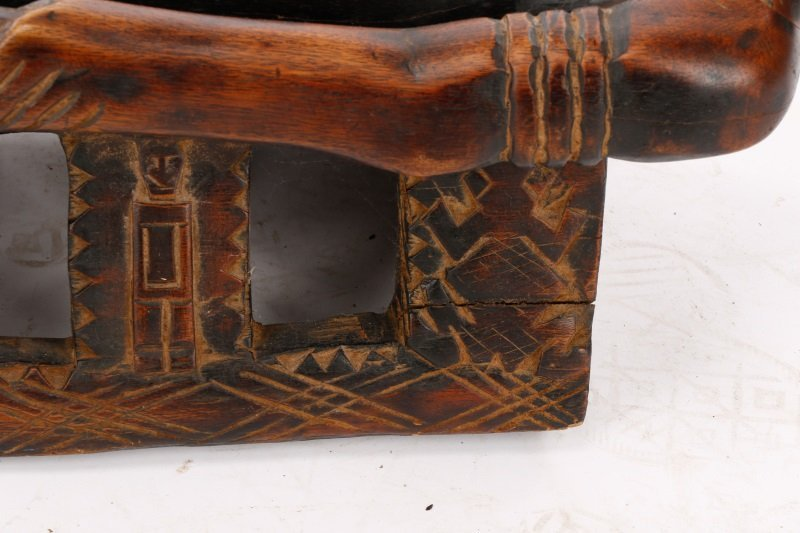 20th C. African Dogon Carved Wood Marriage Bench - 6