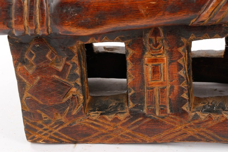 20th C. African Dogon Carved Wood Marriage Bench - 7