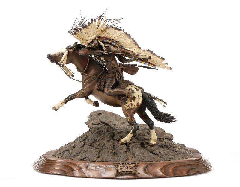 """Don Baker, """"Lakota War Cry"""", Bronze Sculpture"""