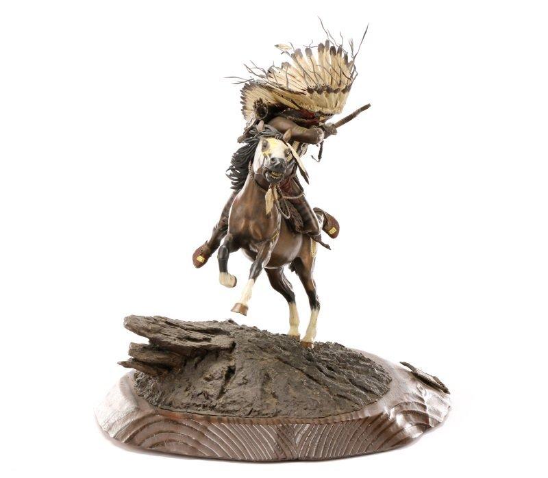 """Don Baker, """"Lakota War Cry"""", Bronze Sculpture - 3"""
