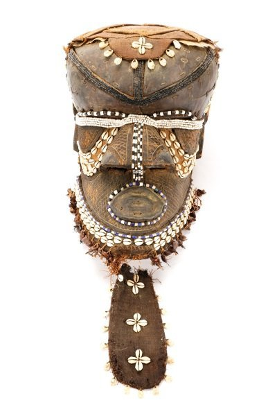 African Carved Beaded & Shell Accented Helmet Mask