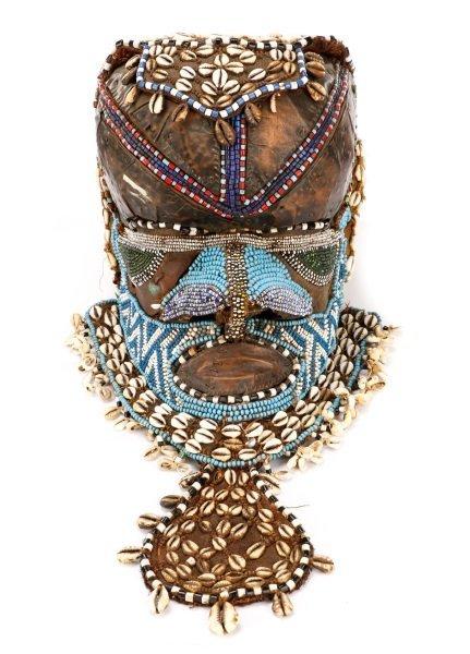 African Kuba Bwoom Helmet Mask, Bead & Shell