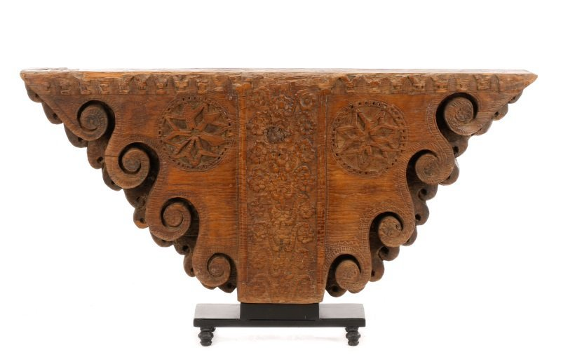 Architectural Carved Wood Fragment Console Table