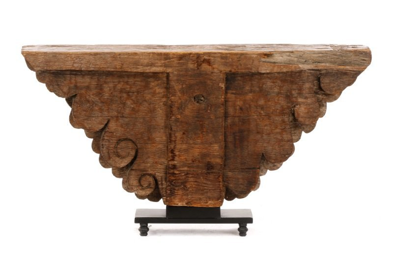 Architectural Carved Wood Fragment Console Table - 2