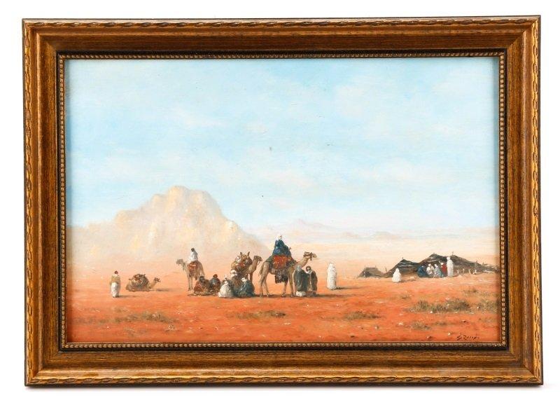 Gérard Roux, Caravane Dans Le Désert, Oil