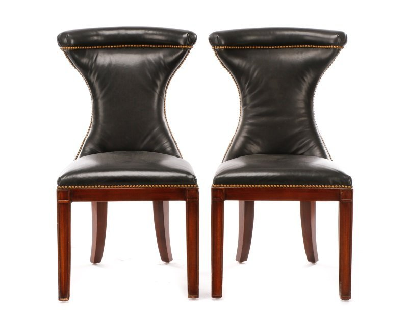 Pair of Polo Leather Side Chairs by Henredon