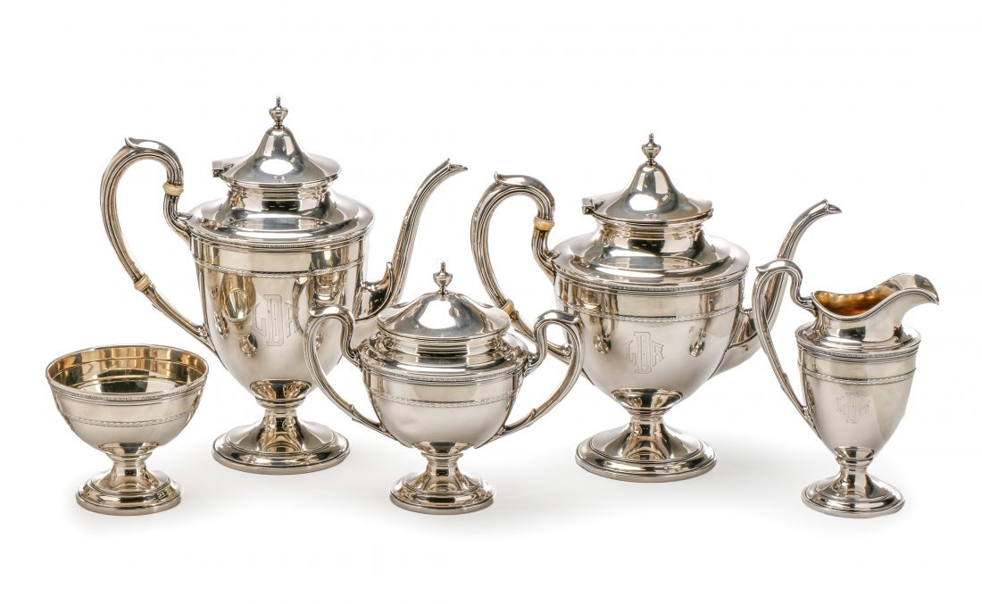Gorham Edgeworth 5 Pc. Sterling Tea Service c.1930