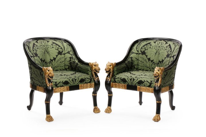 Pair, Regency Style Tub Bergeres, Baker Attributed