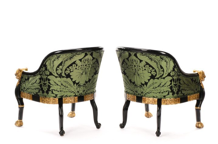 Pair, Regency Style Tub Bergeres, Baker Attributed - 2