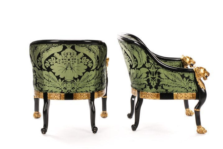 Pair, Regency Style Tub Bergeres, Baker Attributed - 3