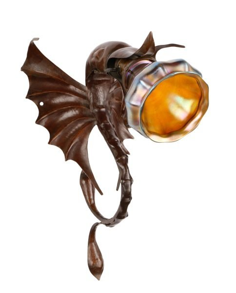Copper Dragon Sconce with Iridescent Glass Shade
