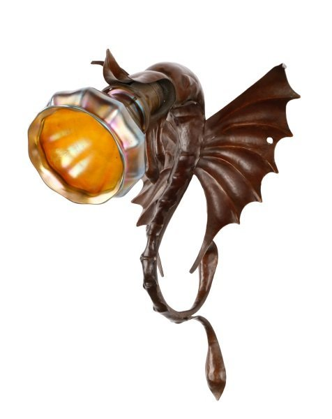 Copper Dragon Sconce with Iridescent Glass Shade - 3