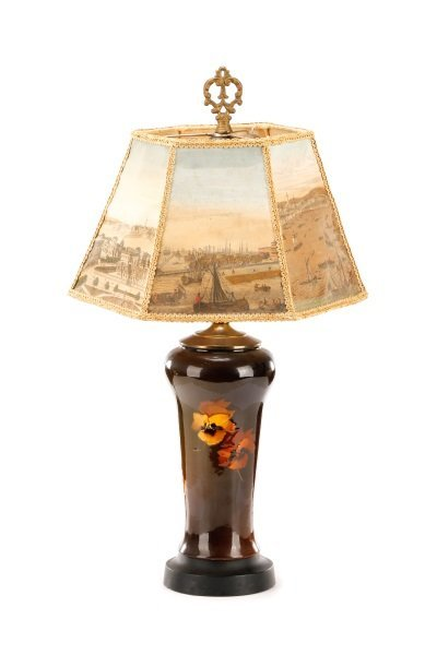 Rookwood Style Pansy Table Lamp with Scenic Shade