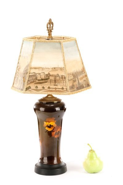 Rookwood Style Pansy Table Lamp with Scenic Shade - 8