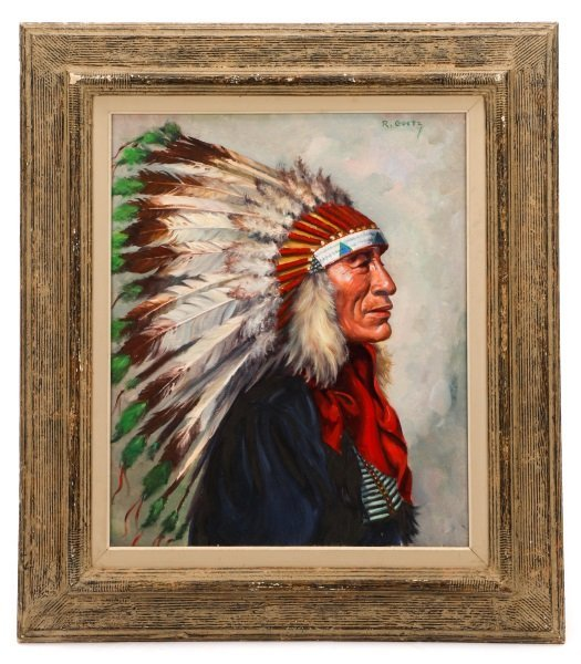 """""""Portrait Of Iron Tail"""" Oil On Canvas, Signed"""