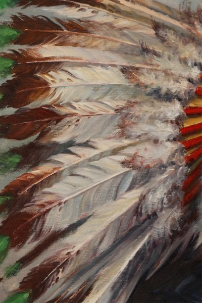 """""""Portrait Of Iron Tail"""" Oil On Canvas, Signed - 5"""