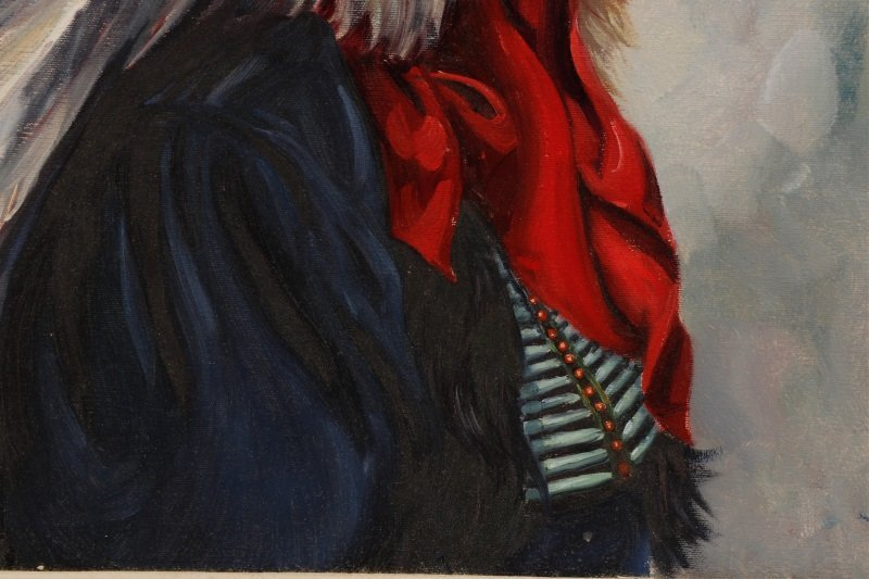 """""""Portrait Of Iron Tail"""" Oil On Canvas, Signed - 6"""