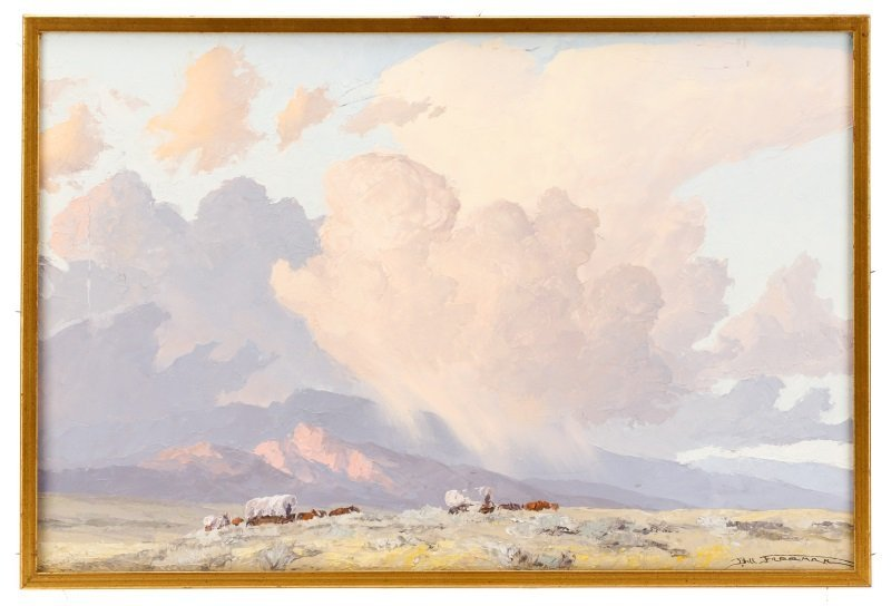 """Bill Freeman """"Covered Wagons and Clouds"""" Oil"""
