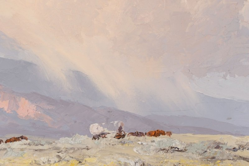 """Bill Freeman """"Covered Wagons and Clouds"""" Oil - 4"""