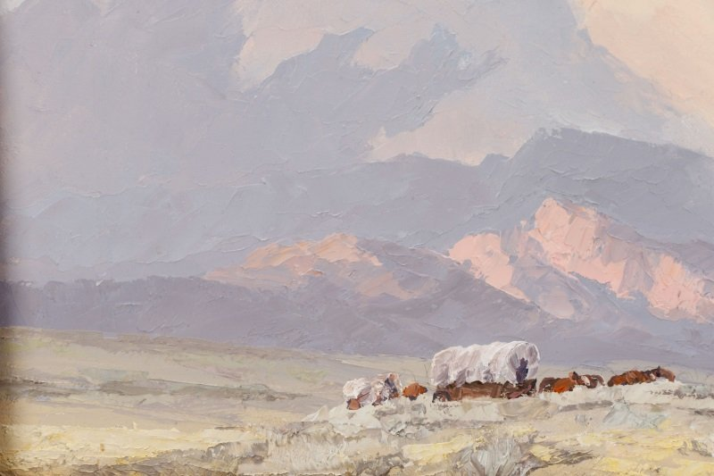 """Bill Freeman """"Covered Wagons and Clouds"""" Oil - 5"""