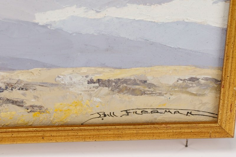 """Bill Freeman """"Covered Wagons and Clouds"""" Oil - 6"""