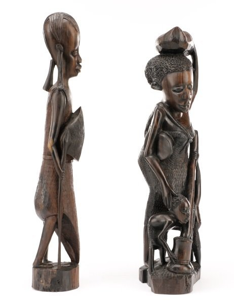 Group of 2 African Carved Ebony Figural Sculptures - 3