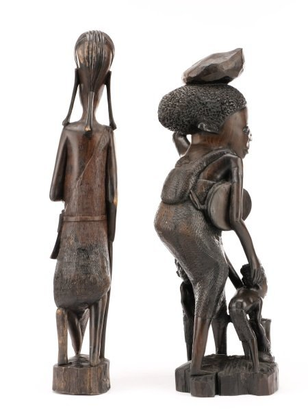 Group of 2 African Carved Ebony Figural Sculptures - 4