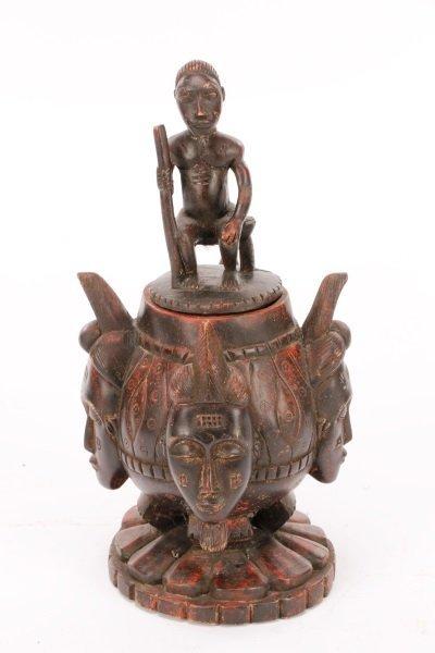 African Baule Carved Wood Covered Figural Vessel