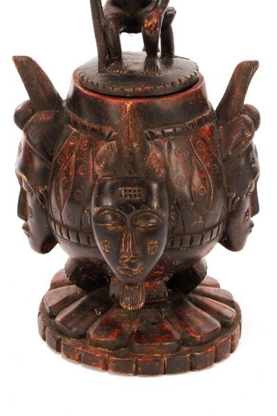 African Baule Carved Wood Covered Figural Vessel - 3