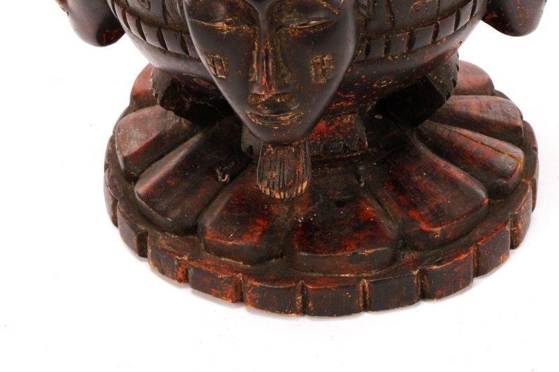 African Baule Carved Wood Covered Figural Vessel - 4