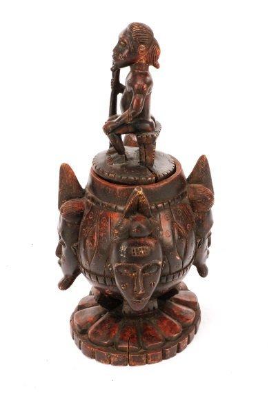 African Baule Carved Wood Covered Figural Vessel - 5