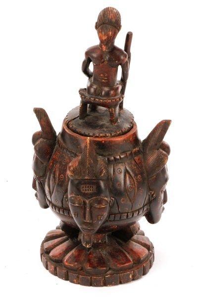 African Baule Carved Wood Covered Figural Vessel - 6