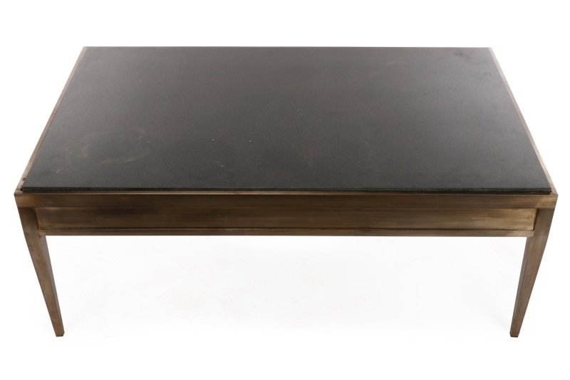 Modernist Brushed Steel & Granite Coffee Table - 2
