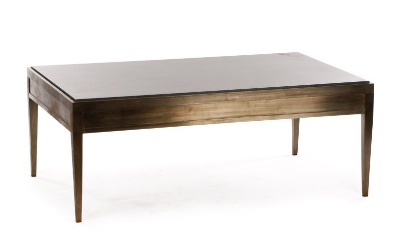 Modernist Brushed Steel & Granite Coffee Table - 5