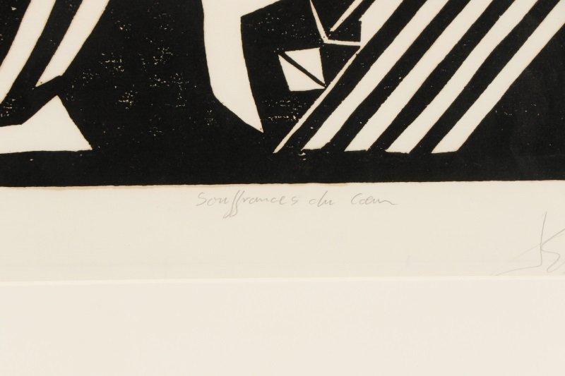 "El Loko, ""Souffrance du Coeur"", Signed Woodcut - 7"