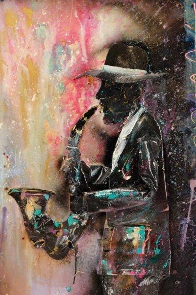 C. Washington 3-D Mixed Media Work, Jazz Musician - 3