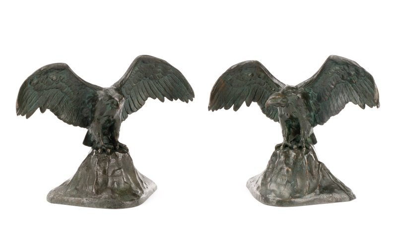Pair of Patinated Bronze Eagle Motif Bookends