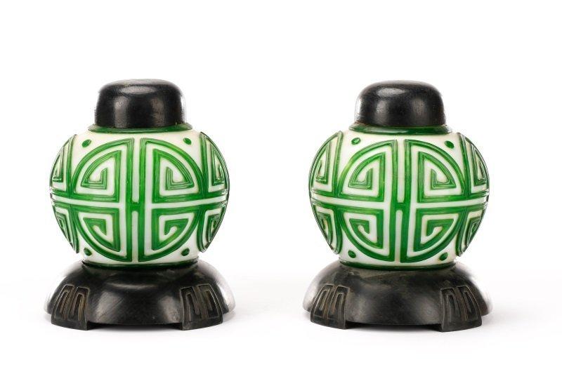 Pair, Chinese Green & White Peking Glass Lamps