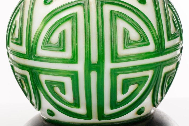 Pair, Chinese Green & White Peking Glass Lamps - 2