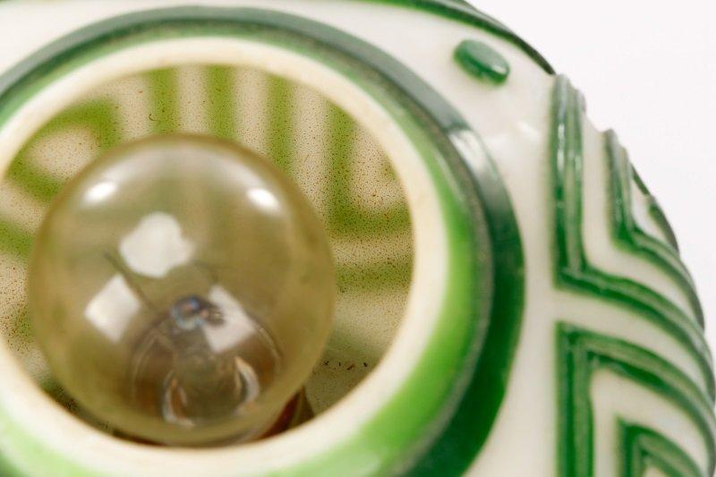 Pair, Chinese Green & White Peking Glass Lamps - 5