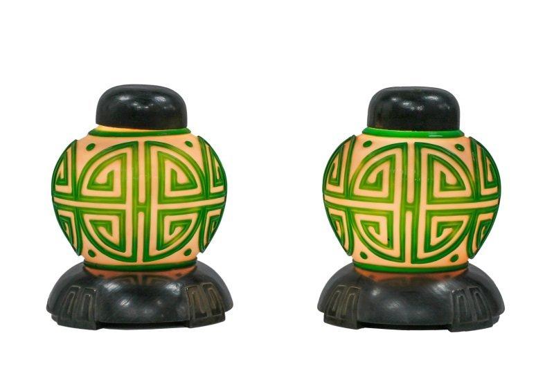 Pair, Chinese Green & White Peking Glass Lamps - 8