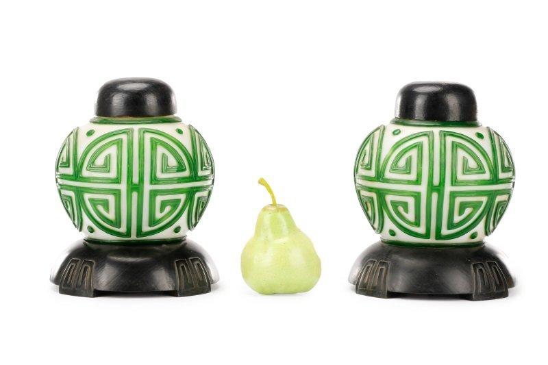 Pair, Chinese Green & White Peking Glass Lamps - 9