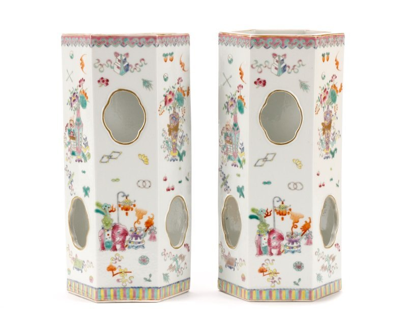 Pair, Chinese Famille Rose Hexagonal Hat Stands