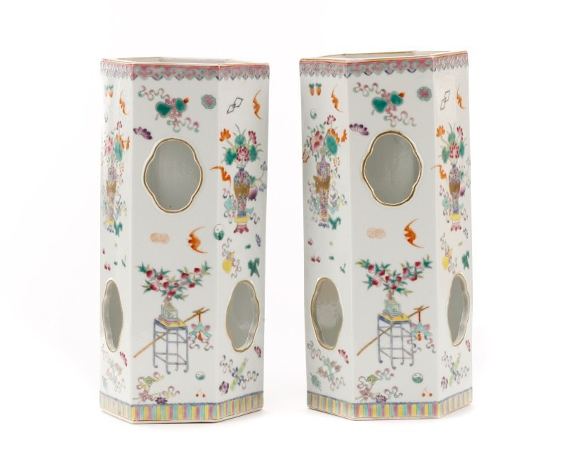 Pair, Chinese Famille Rose Hexagonal Hat Stands - 4