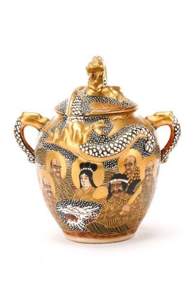 Late Meiji Period Satsuma Earthenware Tea Service - 5