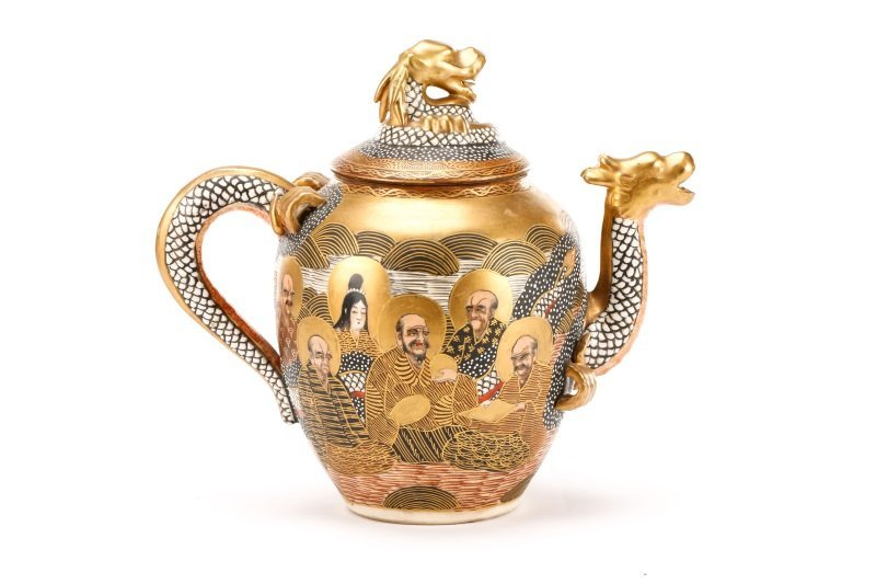 Late Meiji Period Satsuma Earthenware Tea Service - 7