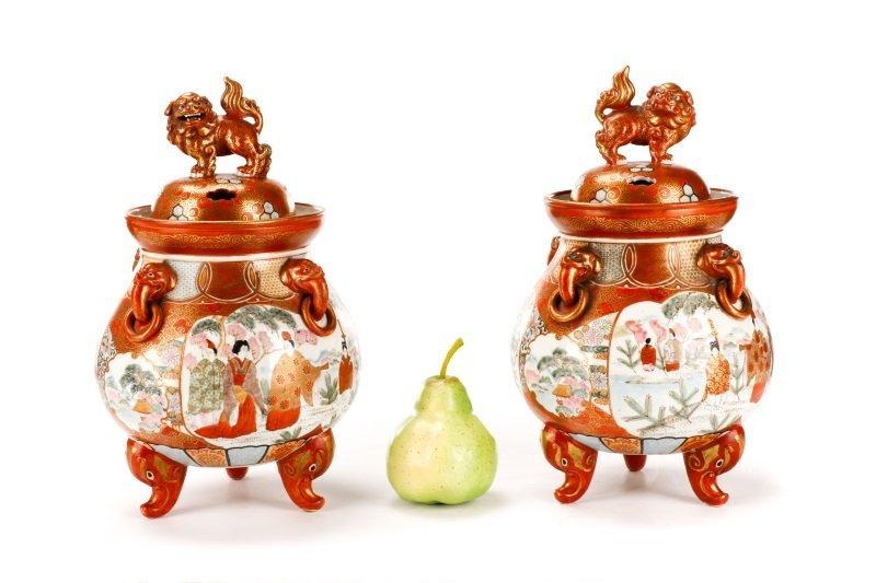 Pair of Japanese Kutani Porcelain Covered Censers - 9